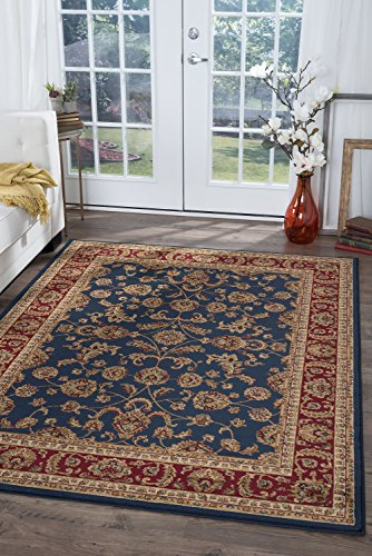 Sariya Transitional Oriental Navy Rectangle Area Rug, 5' x 7'