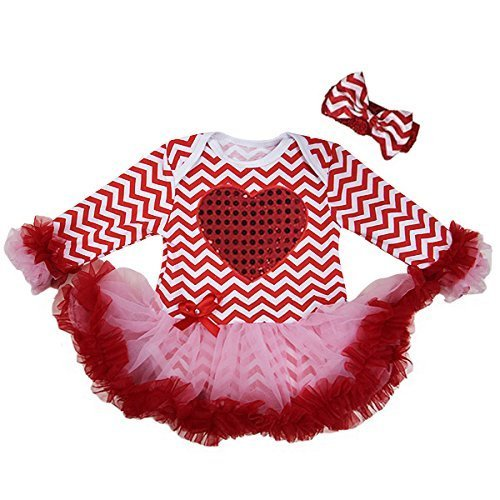 Baby Valentine's Day Pink Chevron Heart Bodysuit Tutu Large Red