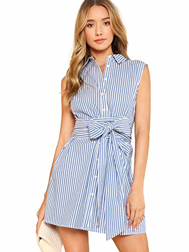 Romwe Women's Cute Sleeveless Striped Belted Button up Summer Short Shirt Dress Blue S ()