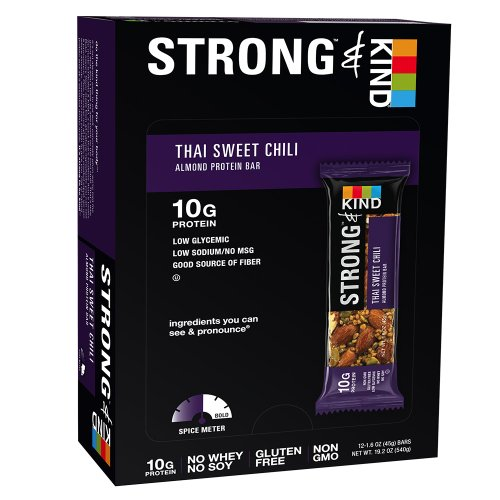 STRONG & KIND Protein Bars, Thai Sweet Chili Savory Snack Bars, 1.6 Ounce, 12 Count
