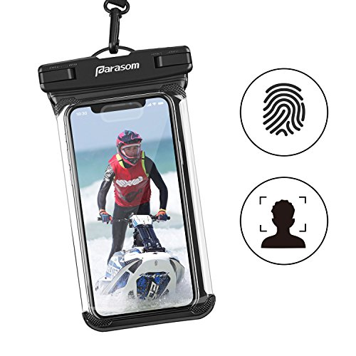 Waterproof Cell Phone Bag, Parasom TPU Waterproof Case IPX8 with Touch ID Kayaking Swimming Surfing Dry Pouch for iPhone 6s/6s Plus/7/7 Plus/8/8 Plus/X, Samsung Galaxy S9/S8/S7 Edge, Google Pixel XL, HTC, LG, Huawei, Sony, Nokia - Black