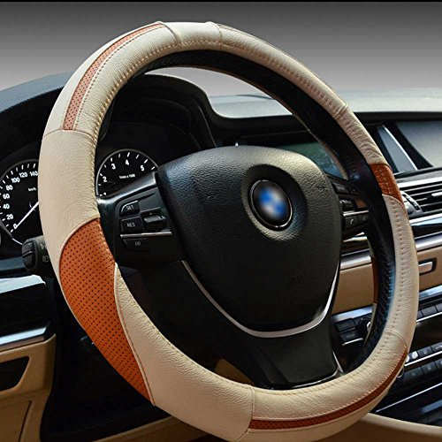 Classic Sport Style Steering Wheel Cover, Luxury Genuine Leather, Odorless, Excellent Grip, 1.5lb, Microfiber Leather Fits Standard Size 14.5-15.5