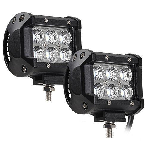 2 PACK 18W Cree LED Off-Road Work Light Bar, 1800lm 6000K IP68 Waterproof & Weatherproof Fog Light, 60° Automobile Driving Flood Head Light for SUV 4WD/AWD/Jeep 4 x 4/Truck/Boat/ATV Auxiliary Lights