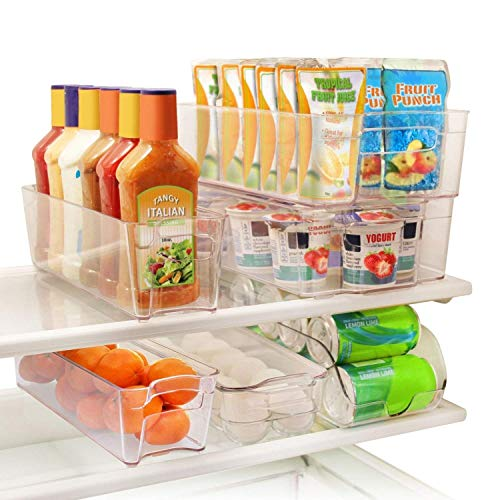 (Greenco GRC0250 6 Piece Refrigerator and Freezer Stackable Storage Organizer Bins with Handles, Clear)