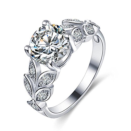 Gemstone Designer Bands - Flower Crystal Wedding Ring For Women Jewelry Accessories Love Engagem Ring Meyerlbama (SILVER, 6)