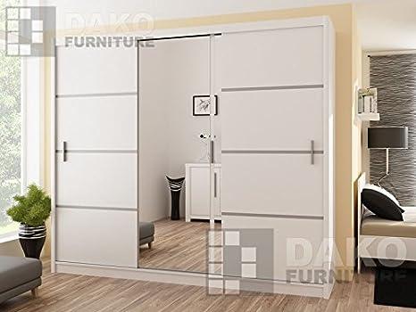Armario de puertas correderas vista blanco 250 8,2 pies/250 cm Ancho: Amazon.es: Hogar