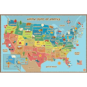 Amazoncom Wall Pops WPE Kids USA Dry Erase Map Decal Wall - Us map dry erase