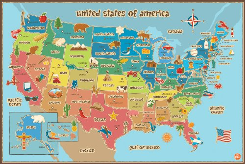 Wall Pops  WPE0623 Kids USA Dry Erase Map Decal Wall Decals (Kids Maps For)