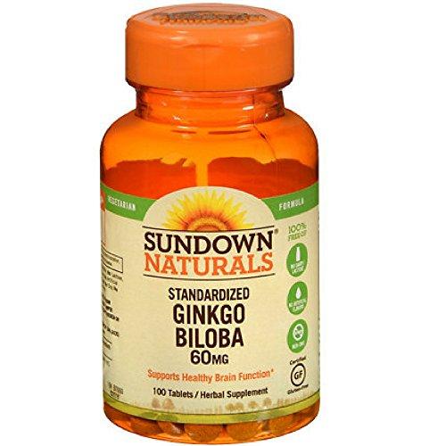 Sundown Naturals Ginkgo Biloba Standardized Extract 60 mg, 100 Tablets