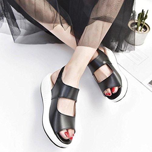 Gioiello Medio Beautyjourney Con O Elegant Zeppa Tacco donna Donna Infradito Romane Eleganti Sandali Estive nero Scarpe Estate zqrvzSw