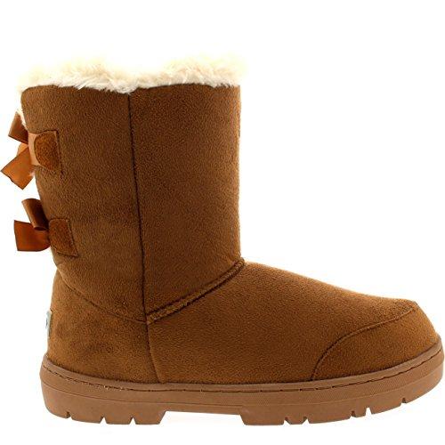 Womens Twin Bow Tall Classic Waterproof Winter Rain Snow Boots Tan BEH4vecpD
