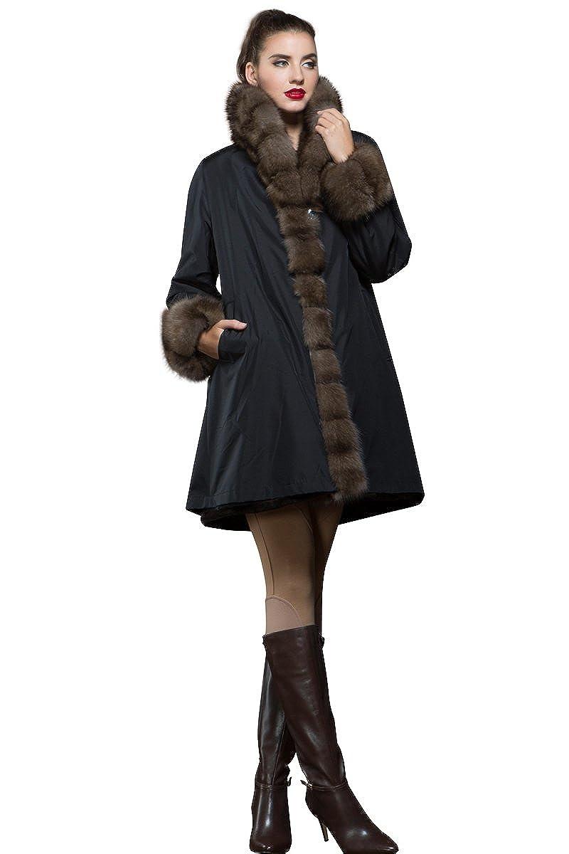 Amazon.com: EM-EL - Abrigo reversible de piel de color ...