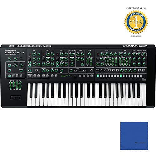 Roland AIRA SYSTEM-8 49-Key PLUG-OUT Synthesizer with Microfiber and 1 Year Everything Music Extended Warranty