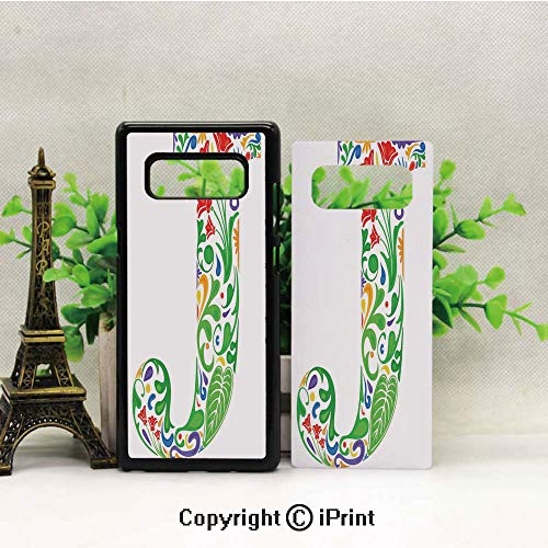- Note 8 Case for Girls,Initial Capital J with Tropical Nature Elements Leaves and Flowers Abstract Swirls Decorative Galaxy Note 8 Case, Anti Slip Note 8 Case Dust Scratch Shock Resistance Protective