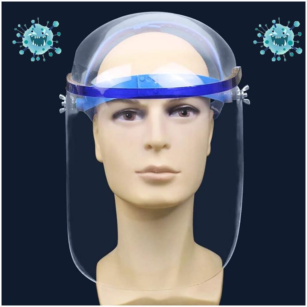 FHUILI Protectora Transparente Protector Facial - Anti-Escupir Careta de protección Careta de protección Seguridad Industrial - Ajustable Espesado plexiglás el Visera de Escudo Facial,A
