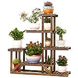 Malayas Wooden Flower Stands Plant Display Stand Wood Pot Shelf Storage Rack Outdoor Indoor 6 Pots Holder 96x95x25Cm