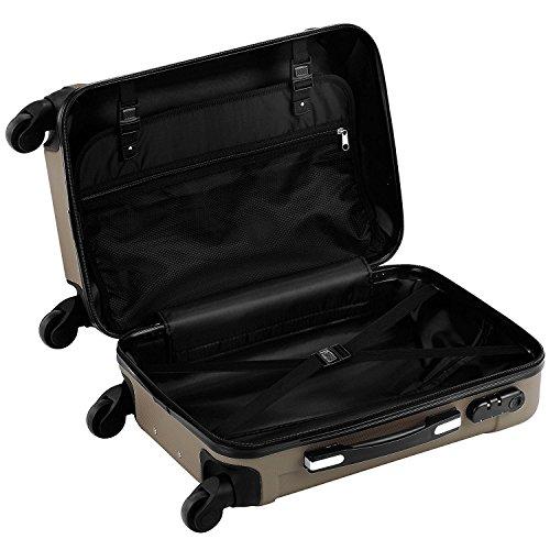 68cm Design Trolley / Hardschalen Reise koffer, 360° Drehbare 4 Doppelrollen, ansprechenden Optik, leicht & stabil, mit 3 fach Schloss Beige