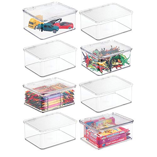 mDesign Plastic Stacking Organizer Toy Box with Attached Lid for Storage of Action Figures, Crayons, Markers, Building Blocks, Puzzles, Craft or School Supplies – 3″ High, 8 Pack – Clear
