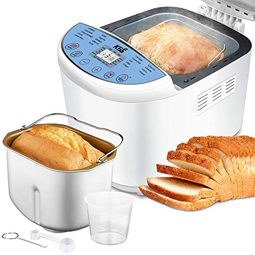 (KBS Full Automatic Bread Maker 2LB, Multi-Use 19 Programs Bread Machine, 360° Double Tube Bake with Ceramic Pan, 3 Loaf Sizes 3 Crust Colors Digital Screen, 15hrs Delay Time 1h Keep Warm, ETL Approved)