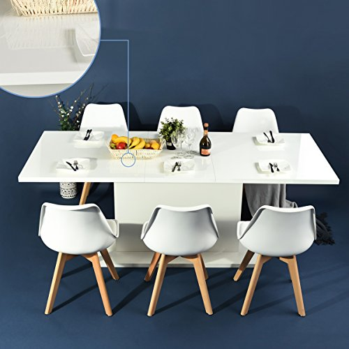 Homy Casa High Gloss White Extendable Rectangular Dining Table  Mltifunction Space Saving Wood Table  High Gloss White Top
