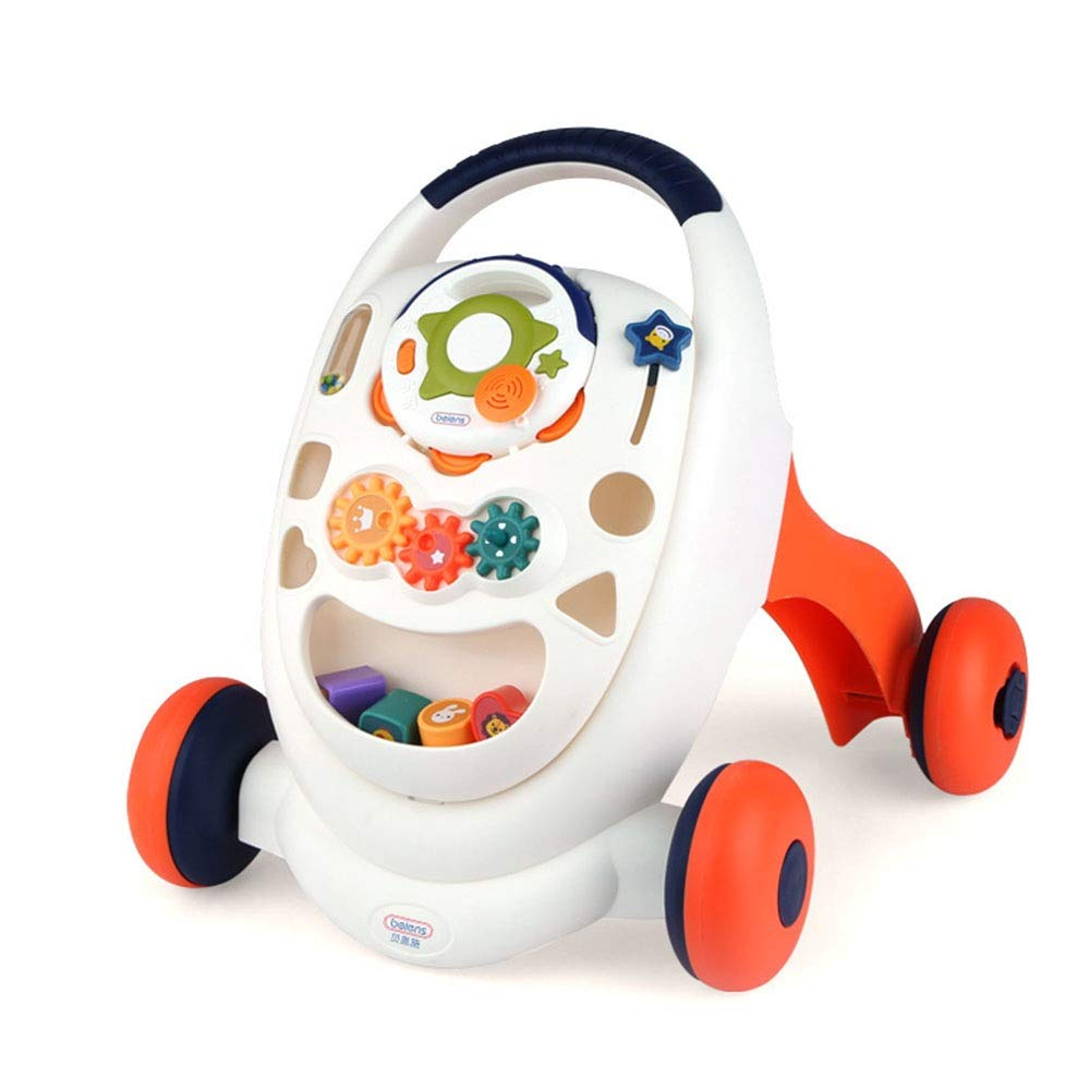 Ybriefbag-Toys Baby Three-in-one Activity Walker Multifunctional Baby Walker Trolley Toy Anti-Rollover Infant Baby Stroller Baby Walker (Color : White, Size : 49.843.544.4cm)