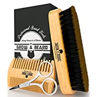 Barba cepillo y conjunto de peine para el cuidado de los hombres | Tijeras de bigote de regalo de caballero | Caja de regalo y bolsa de viaje | El mejor kit de preparación de bambú para untar bálsamo o aceite para el crecimiento y el peinado | Agrega