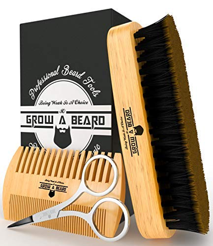 Beard Brush & Comb Set for Men's Care | Gentleman's Giveaway Mustache Scissors | Gift Box & Travel Bag | Best Bamboo Grooming Kit to Spread Balm or Oil for Growth & Styling | Adds Shine & Softness ()