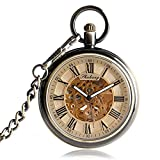 Antique Pocket Watch, Roman Number Transparent Skeleton Automatic Mechanical Pocket Watch, Gift for Men