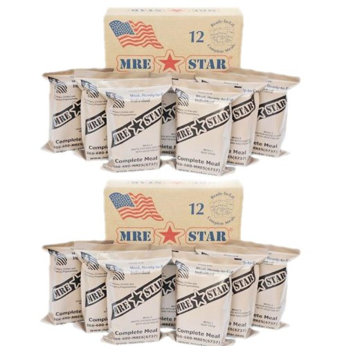 MRE Star MRE's - 2 x Cases of 12 Full Meals: 24 Meals Total - Military, Survival Meals