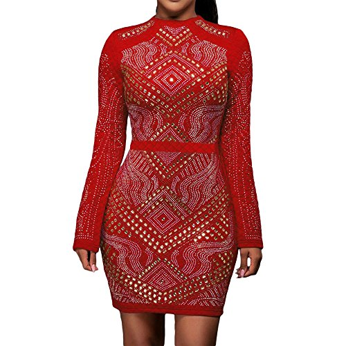 Women Jeweled Rhinestones Quilted Long Sleeves Bandage Bodycon Clubwear Dress Red Large