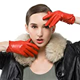 Nappaglo Women's Genuine Nappa Leather Gloves Touchscreen Short Winter Warm Gloves with Decorative Wrist Lace (L (Palm Girth:7.5''-8''), Red (Non-Touchscreen))