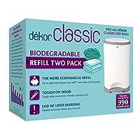 Dekor Classic Diaper Pail recambios biodegradables | Sistema de recarga más económico | Rápido y fácil de reemplazar | No hay tamaño de bolsa preestablecido | Marcado exclusivo de fin de línea | Perfume de polvo de bebé | 2 cuenta