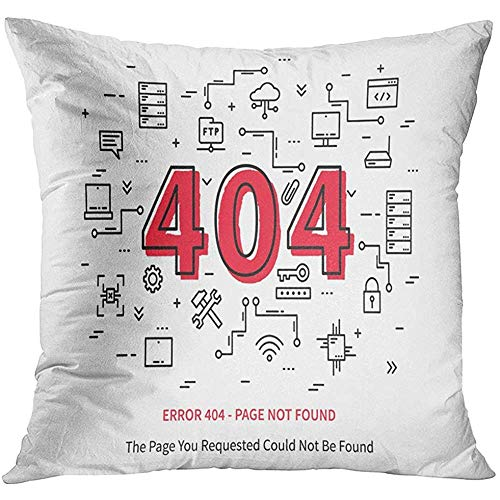 LUDEM Throw Pillow Cover Hosting Center Error 404 Page Datacenter Server Broken Graphic Design Not Found Creative Data Site Decorative Pillow Case Home Decor Square 18x18 Inches Pillowcase