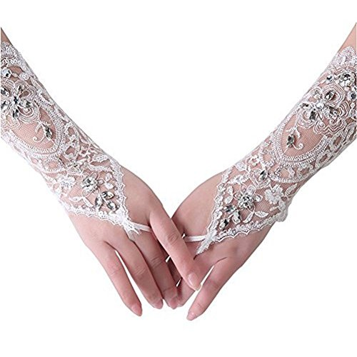 Bridal Wedding Gloves Lace Flower Vintage Style Rhinestone Satin Wedding Party Fingerless Gloves (White)