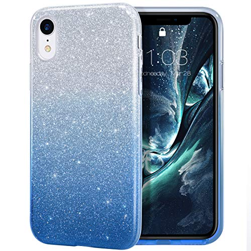 MILPROX Glitter case for iPhone XR 6.1, Shiny Sparkle Bling, 3 Layer Hybrid Protective Soft Case- (Blue Gradient)