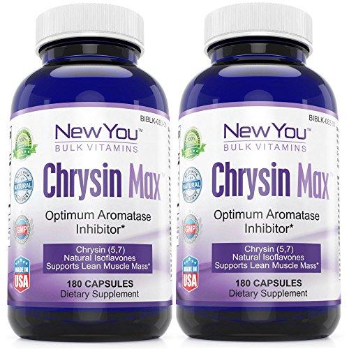 Chrysine limite Max de Conversion de la testostérone en œstrogènes nouvelle en bloc de vitamines chrysine Max chrysine supplément 900mg 360 Capsules 2 bouteilles