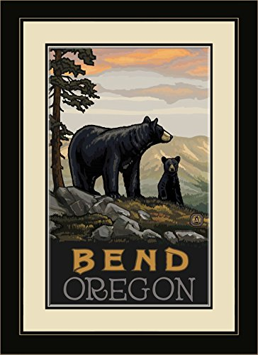Northwest Art Mall PAL-1236 FGDM BBF Bend Oregon Black Bear Family Framed Wall Art by Paul A. Lanquist, 16 by - Mall Bend North