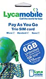 Wireless : PrePaid Europe (UK Lycamobile) 30 Days 6GB SIM Card with Unlimited Mins/Texts and 100 International Minutes to Call USA/Canada and Free Roaming in All EU Countries