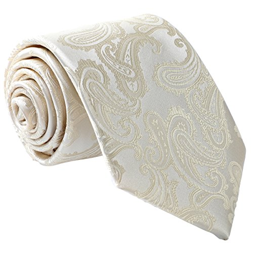 fortunatever Mens Gold Paisley Extra Long Necktie+Gift Box (Extra Tie Paisley Long Gold)