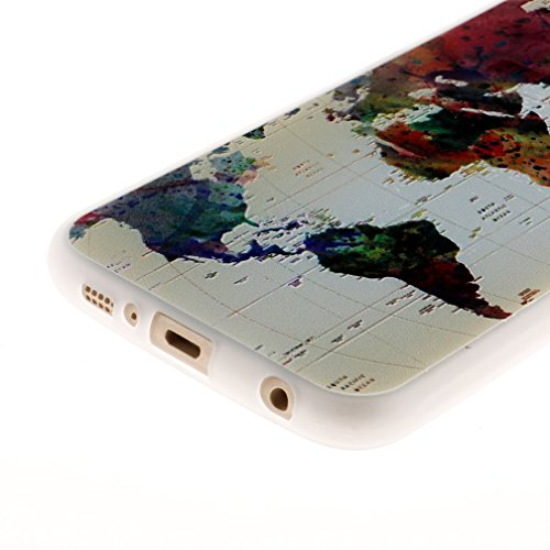 Funda Samsung Galaxy S6,XiaoXiMi Carcasa de Silicona TPU Suave y Esmerilada Funda Ligero Delgado Carcasa Anti Choque Durable Caja de Diseño Creativo - Angry Panda Mapa