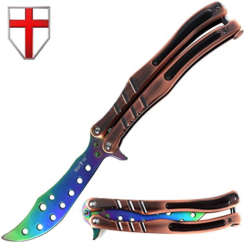 Butterfly Knife Trainer Practice Balisong Rainbow Curved Steel Unsharpened Knife - Grand Way K01-A