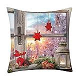 Weiliru Hello Merry Christmas Serie Blend Linen Throw Pillow Cover Flower Cushion Case 18 x 18 Inch for Home Sofa