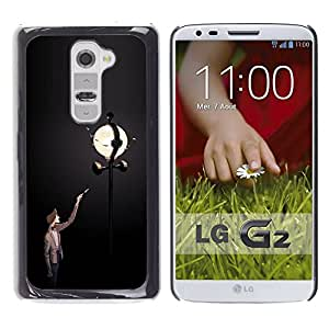 Ihec Tech Farola Lamp Post Hombre Oscuro Noche Luna / Funda Case back Cover guard / for LG G2