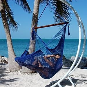 caribbean jumbo hammock chair by beachside hammocks   blue amazon     caribbean jumbo hammock chair by beachside hammocks      rh   amazon