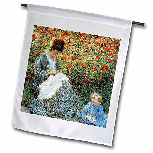 3dRose FabPeople - Claude Monet Portraits - Camille Monet and a Child in the Artists Garden Argenteuil, 1875 PD-US - 12 x 18 inch Garden Flag (fl_179203_1)