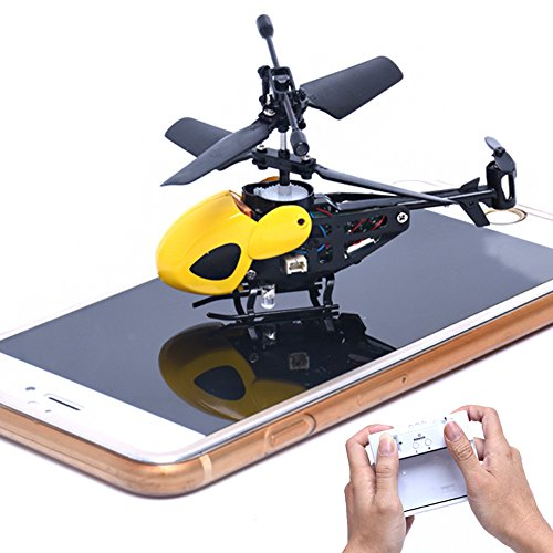 RC Helicopter 2CH Mini RC Radio Remote Control Flying Toy Aircraft Micro 2 Channel Gift for Kids Boy (Yellow, RC Helicopter)