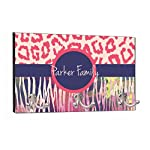 "Rosie Parker Inc. Watercolor Zebra and Leopard Print - 8"" by 16"" Custom Mountable Coat Hanger Rack Household Decoration with Three Double Silver Hooks - Customize Yours Now!"