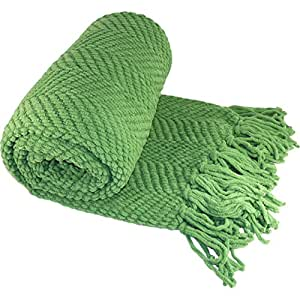 """BOON Knitted Tweed Throw Couch Cover Blanket, 50"""" x 60"""", Green Eyes"""