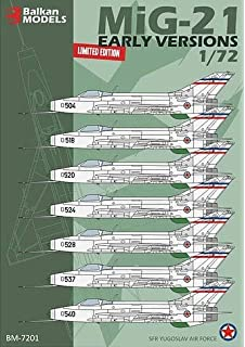 Limited Edition Decals for SFR Yugoslav Air Force . Balkan Models BM-7201 MiG-21 Early Versions 1//72 Scale