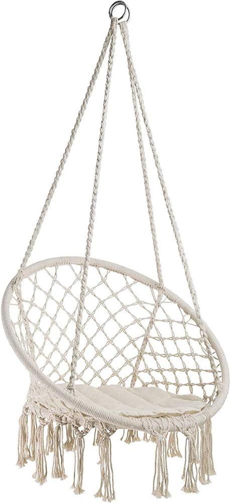GZYM Swing & Silla Colgante, de Punto, de algodón por la Cuerda con la romántica Columpio Hamaca Flecos para Interior/Exterior, Patio, Plataforma, Patio, Jardín, Bar, 331 Libras de Capacidad